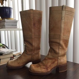 1970s Frye Black Label Steer Stitched Campus Boots